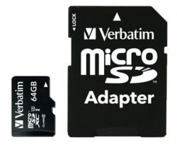 MICRO SD VERBATIM PRO MICROSDXC U3 64GB WITH ADAPTER 47042